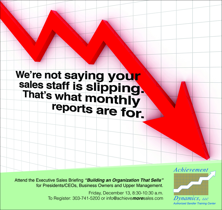 This ad is aimed at CEOs that need to fix a sales problem. And sometimes numbers speak more to the heart of the issue than pictures so we used the universal performance chart to point out he problem. And the arrow points exactly to the solution to underperforming sales!