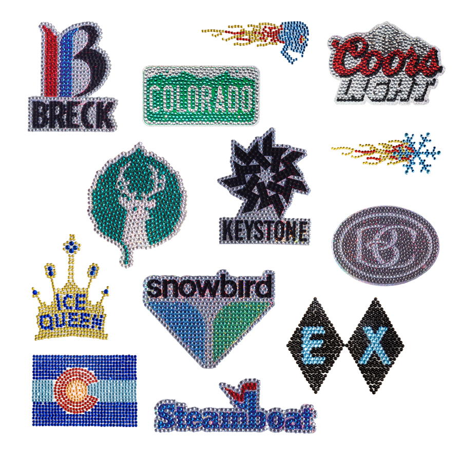 We created the initial rhinestone icons. Later joined by Vail Resort logos as well as other major Rocy Mountain ski resorts.