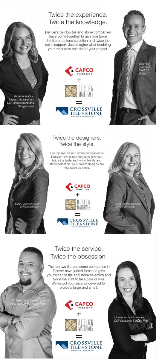 When two competing tile companies merge there can be tensions with the employees. This campaign featured employees from both companies showcasing the talents of each and helping reassure both sets of employees that every effort would be made to unify and move forward.