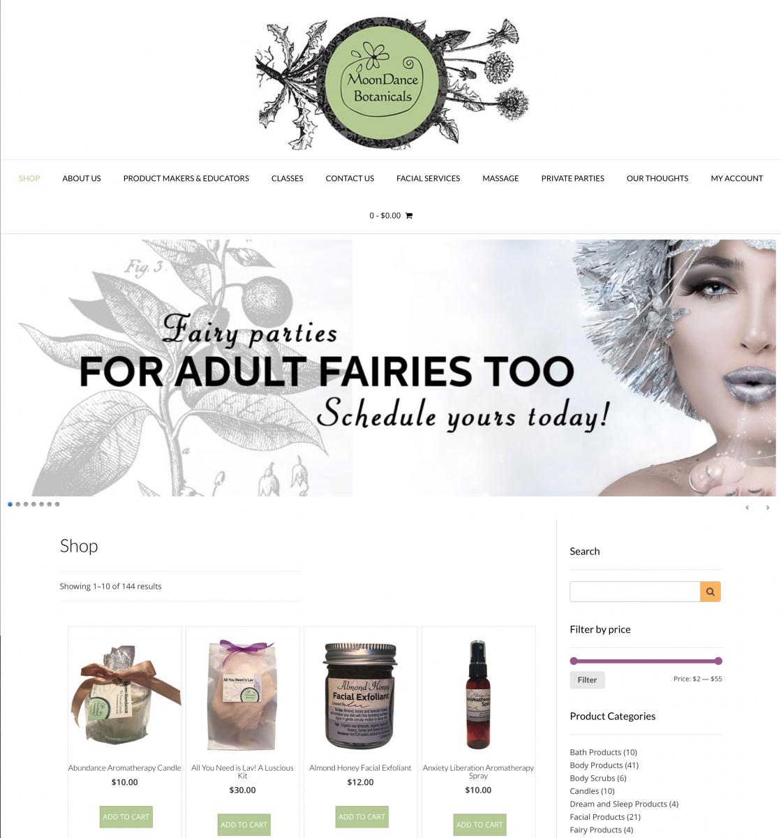 Web site for MoonDance Botanicals. A Denver based, organic purveyor of skin care products. E-commerce site. Customized banner design promoting current offerings.