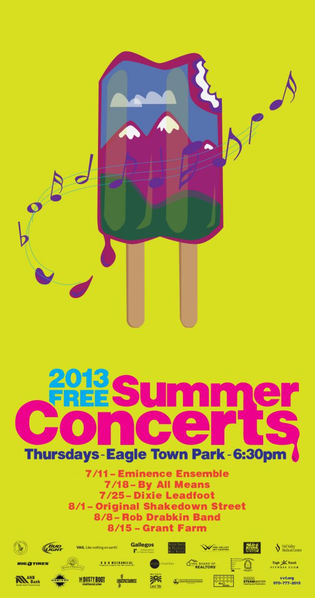 The Vail Valley Foundation puts on a concert series every summer showcasing local talent. We were tapped to design a poster that incorporates the mountain culture, summer and music. The popsicle visual was a natural.