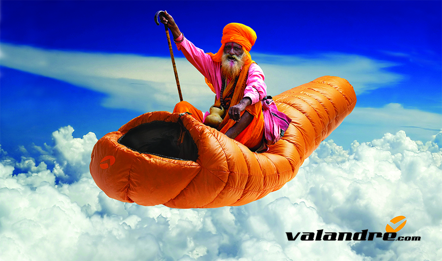 An Indian Mystic floating serenely above it all on his new Valandre sleeping bag. Continuing the theme of Valandre being the answer to mountaineers prayers for the highest quality sleeping bag available.
