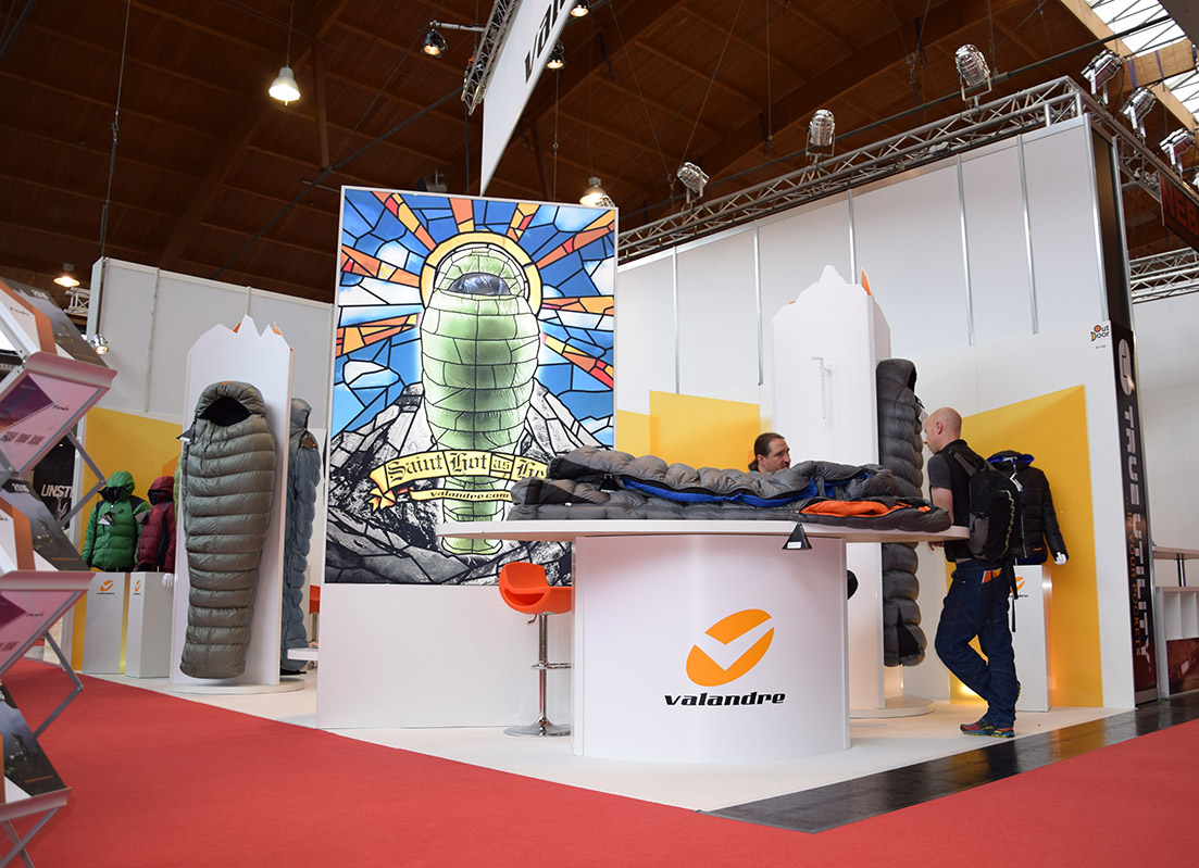 4 x 7 Meter trade show booth. We coordinated with a manufacturer in France to bring this to life. White background sets off the bold colors of Valandries products. Space and traffic planning kept things open and easy to get work done!