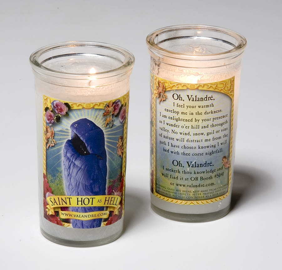 Trade show trinkets are successful when they are sought out by attendees. These candles showing Valandre products as the answer to your sleeping bag prayers disappeared on the first day of the show.